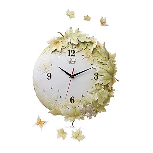 - Hwgrpeis Silent Non-Ticking - Quality Easy to Read Home/o Exquisite 18 Inch 3D Maple Leaf Decorative Floral Wall Clock Digital Art Resin Engraving Round Frame Battery Operation Clock