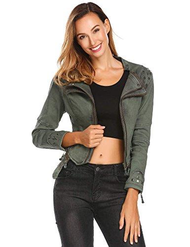 Soteer Women Punk Lapel Crop Biker Zipper Denim Jean Blazer Jacket Coat Olive Green M (Crop Moto Jacket)
