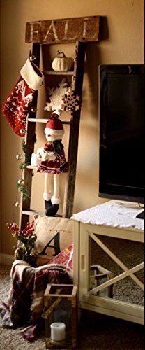 BarnwoodUSA Rustic Farmhouse Blanket Ladder - Our 5 ft Ladder can be Mounted Horizontally or Vertically and is Crafted from 100% Recycled and Reclaimed Wood | No Assembly Required | White