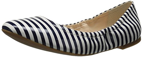Nine West Womens Girlsnite Synthetic Ballet Flat, White/Navy, 41 EU/8 UK
