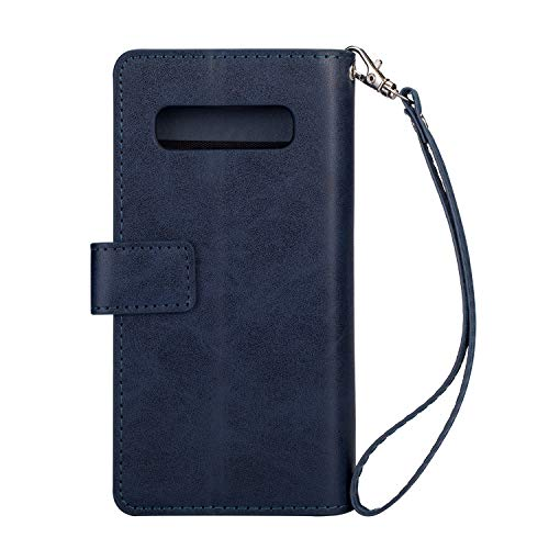 b8b0fa4439e4 Yobby Zipper Wallet Case for Samsung Galaxy S10 plus,Blue Phone Case ...