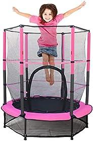 """55"""" Kids Trampoline with Safety Enclosure Net &Bulit-in Zipper &Heavy Duty Steel Frame Large Trampolin"""