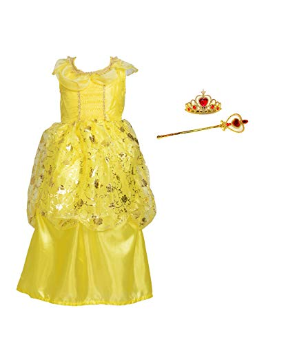 Princess Belle Costume Dress Up for Little Girls Size M 3-5 (Child Costume Classic Belle)
