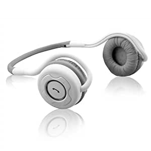 NoiseHush NS400-11941 Bluetooth Stereo Headset with Case for Apple iPad/iPhone - Retail Packaging - White/Gray