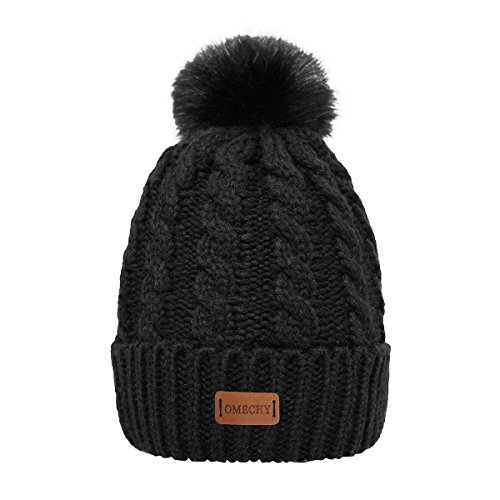 OMECHY Women's Winter Knit Hat Trendy Slouchy Beanie with Warm Fleece Lining Skull Chunky Soft Thick Cable Ski Cap, Black