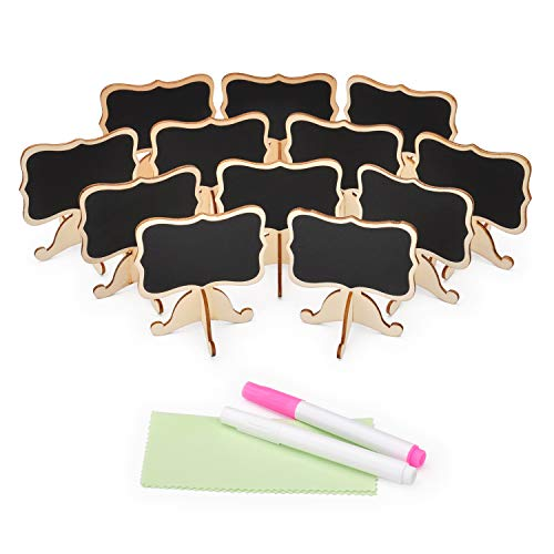 KUYANG 12 Pack Mini Chalkboard Signs with Stand, 2 Chalk Markers and Cleaning Cloth, Rectangle Wood Blackboard for Message Board Signs, Party Supplies, Food Labels, Event Decoration