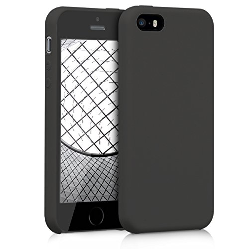 kwmobile TPU Silicone Case for Apple iPhone SE / 5 / 5S - Soft Flexible Rubber Protective Cover - Black Matte