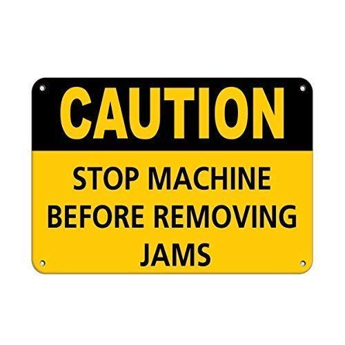 - WallDector Caution Stop Machine Before Removing Jams Caution Iron Poster Painting Tin Sign Vintage Wall Decor for Cafe Bar Pub Home Beer Decoration Crafts