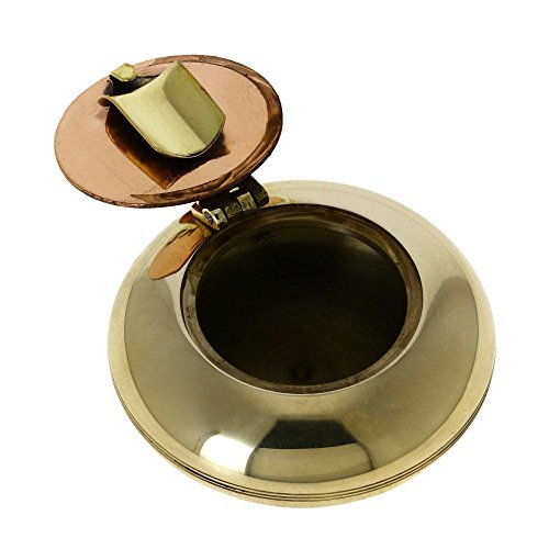ShalinIndia Cigarette Accessories Brass Metal Pocket Ashtray with Lid ()