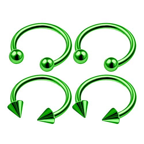 4Pcs Green Anodized 16 Gauge 3/8 10mm Horseshoe Earrings for Women Piercing Jewelry Eyebrow Nose Tragus 3mm Ball Cone M4957