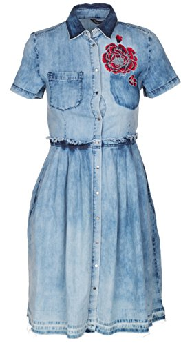 Diesel Women's Blue Denim 'De-Casty' Floral Embroidery Bleached Knee Dress, Blue, (Diesel Flare Jeans)