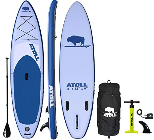 Atoll 11' Foot Inflatable Stand Up Paddle Board (6 Inches Thick, 32 inches Wide) ISUP, Bravo Hand Pump and 3 Piece Paddle, Travel Backpack and New Paddle Leash Included (Light Blue)