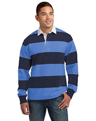 Jersey T-shirt Rugby (Sport-Tek Men's Long Sleeve Rugby Polo XL True Navy/ Carolina Blue)