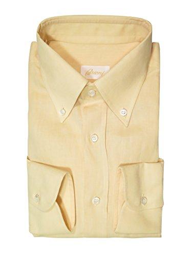 (Brioni Men's Light Yellow Linen Long Sleeve Shirt Size M)