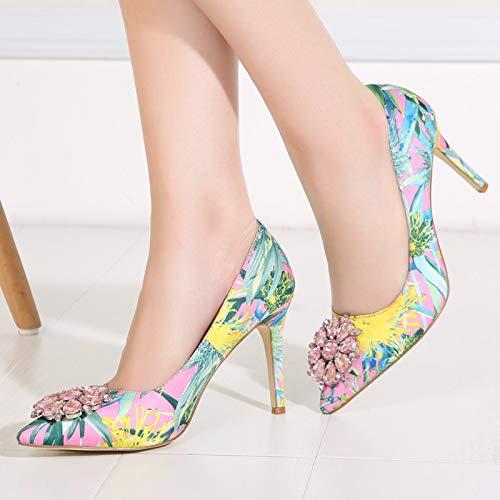 Chaussures Qiusa Taille EU Rose à Rose 43 Imprimer Pompes Grandes coloré Hauts Strass Fleur Femmes Talons nqwYaRAq4