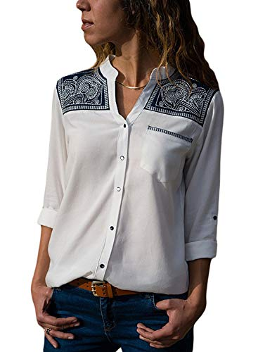 f6ef6669d7d23a BLENCOT Womens V Neck Vintage Embroidery Button Down Long Sleeve T Shirts  Blouses Tops