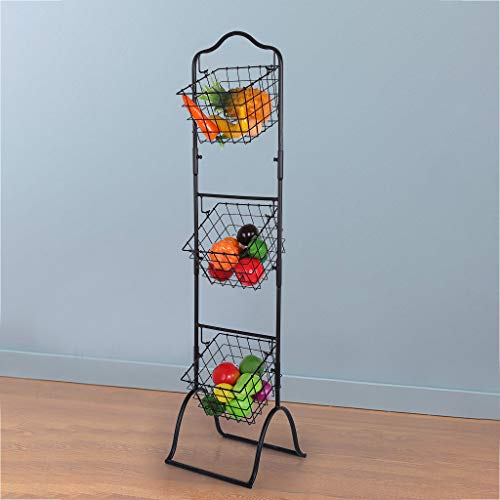 Kuerqi Three-Layer Removable Storage Basket Fruit And Vegetable Display Rack (Brown)