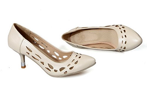 VogueZone009 Women's Kitten-Heels Soft Material Pull-On Closed-Toe Pumps-Shoes Beige 12oaoHg
