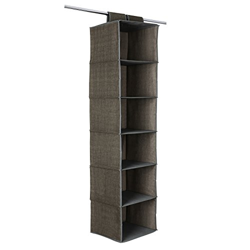 SONGMICS 6-Shelf Hanging Closet Organizer Sturdy Collapsible Storage Shelves for Clothes and Shoes Brown URCH08K