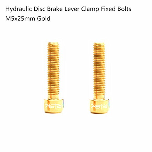 - 2PCS Titanium Alloy M5x25mm Hydraulic Disc Brake Lever Clamp Bolts Screws For SRAM Guide R RS RSC (Gold)