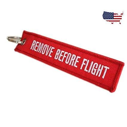 Gráficos y más remove before Flight Bordado Llavero, rojo ...