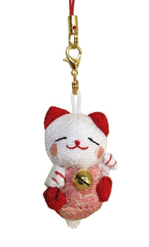 Lucky Cat Smartphone Cell Phone Charm (White/Red)