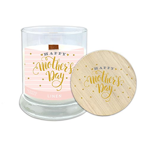 "Gold Fleck Candle (Worthy Promo Mother's Day Gift—""Happy Mother's Day"" Linen Scented Candle with Wood Wick and All-Natural Soy Wax, Hand Crafted Small Batch, 8 oz Candle, Wooden Lid. Design 03, Festive Pink Gold Flecks)"