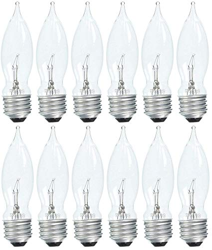 GE 48401-12 60-Watt Crystal Clear Bent Tip CA9, 12-Pack