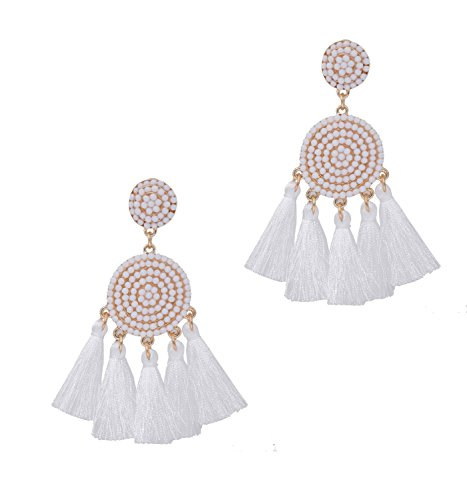 Tassel Earrings Thread Fringe Chandelier Drop Dangle Earrings Bohemia Beaded Disc Stud Earring for Women Girls (A-White)