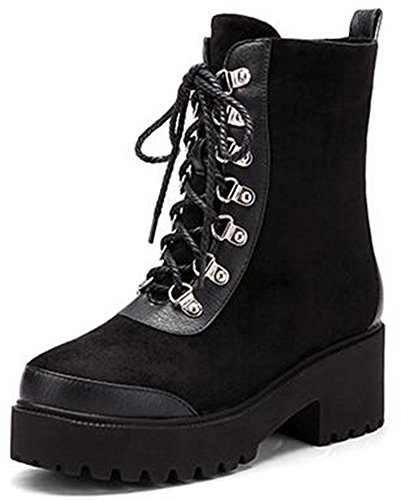 Booties Boots Heels Up Lace Toe Mid Womens Chunky Round Black Vintage Ankle Bikers IDIFU 6vwqY7x