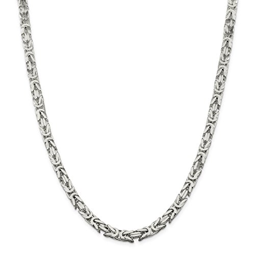 925 Sterling Silver 6mm Polished Square Byzantine Chain Necklace 24'' by Venture Jewelers