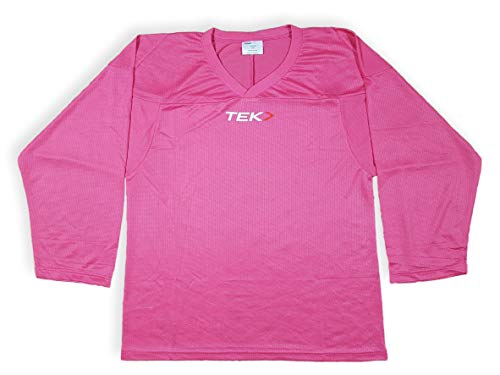 Powertek Practice Hockey Jersey - Junior Youth mesh, Breathable Solid Color Hockey Jersey (Pink, Junior L/XL)