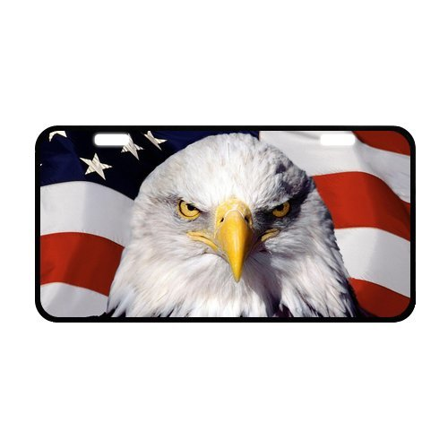 American Bald Eagle Flag Car Accessories Metal License Plate Frame 11.8