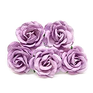 "1.5"" Lilac Mulberry Paper Flowers DIY Wedding Flowers Bouquet Purple Paper Roses DIY Wedding Decor DIY Paper Bouquet Artificial Flowers Wedding Crafts Home Decorations, 12 Pieces 54"