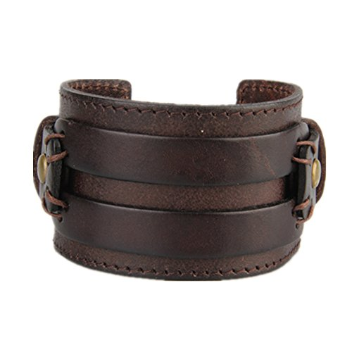 COOLLA Wide Braided Genuine Leather Mens Bracelet Bangle Cuff (Chocolate)