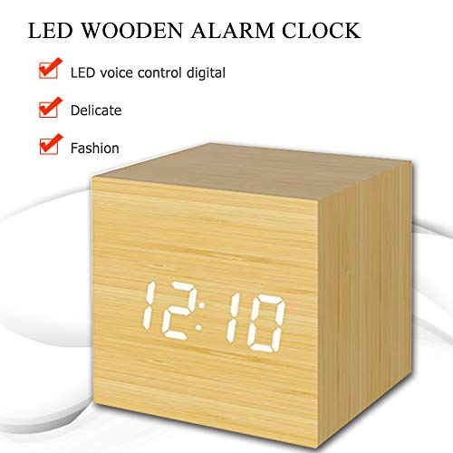 (Digital AlarmClock with White LED, Mini Cube Wooden Clock for Kids, Displays Time, Date and Temperature, Suitable for Families, Bedrooms, Dormitories, Travel)