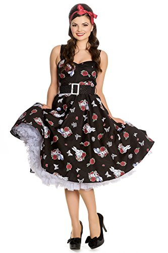 Damen Mit Drink Hell Me Schwarz Bunny Kleid Rabbit Muster Swingkleid CUxxZq58