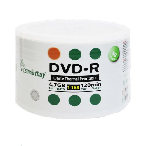 Smartbuy 6000-disc 4.7gb/120min 16x DVD-R White Thermal Hub Printable Blank Media Recordable Disc by Smartbuy (Image #2)