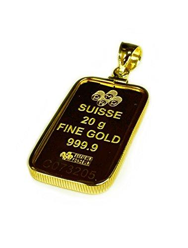 24K Fine Gold 20 Gram Bullion Ingot - 14Kt Framed Charm/Pendant