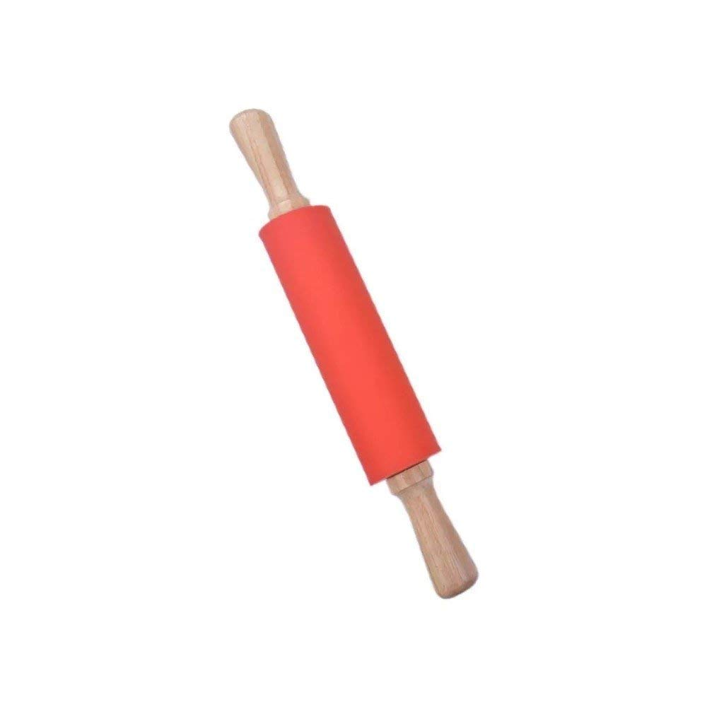 Silicone Rolling Pin with Wooden Handle 12 Inches Non-Stick Dough Rolling Pin