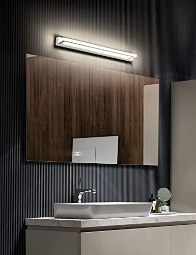 ECOBRT Acryl LED Spiegelleuchte Bad Spiegellampe 62cm Badezimmer Badleuchte IP44 Wandmontage Schanklampe Badlampe Wandleuchte Klemmleuchte 4000K Neutralweiß Schminklicht Aufbauleuchte
