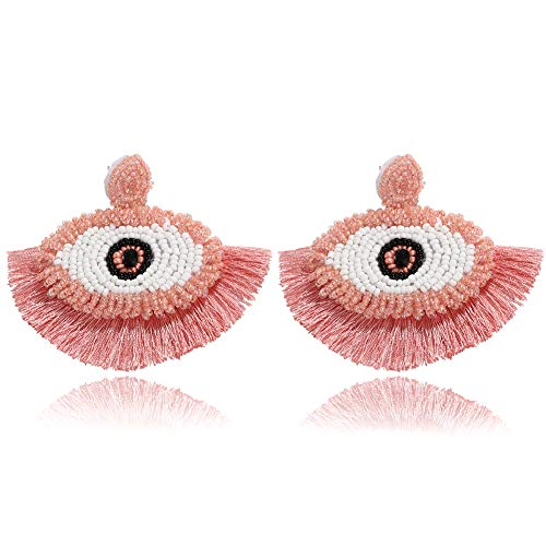 BEST LADY Tassel Earrings for Women - Statement Handmade Dangle Fringe Earrings for Women, Idea Gift for Sister, Wife and Friends (Eye Pink)