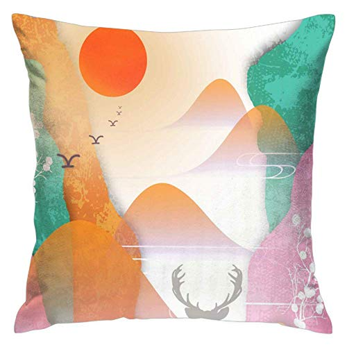(Love fled Sunset Over The Rocks Pillow Cover Home Decorative Cushion Cover for Sofa Bedroom Car 1 Pcs 16x16 Inch)