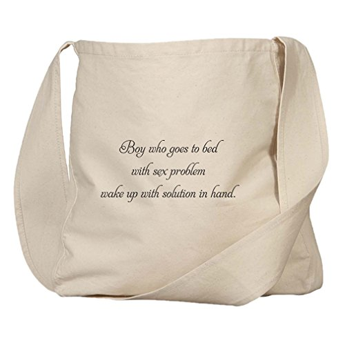 Market Bag Organic Canvas Sleeps W/ Sex Problem Wakes W/ Solution In Hand by Style in Print