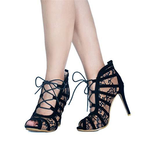 Mesh Chaussures À De Lacets Femmes Mode Kolnoo Parti Noir Hauts net Crosscriss Talons Fait Bureau Escarpins Main q8xwEUO