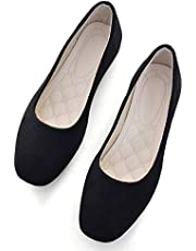 VFDB Women Comfort Square Toe Ballets Flats, Slip On Classical Walking Shoes for Wedding/Driving/Dating Black US 7.5