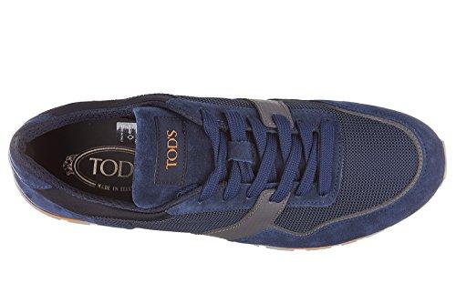 Tods scarpe sneakers uomo camoscio nuove allacciato spoiler gomma blu