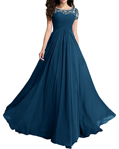 MILANO BRIDE Modest Wedding Party Dress Prom Dress Short Sleeves A-line Beads-6-Teal