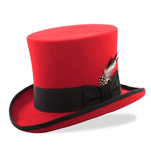Feather Trim Red Wool Hat - XL Ferrecci Red with Black Trim Top Hat