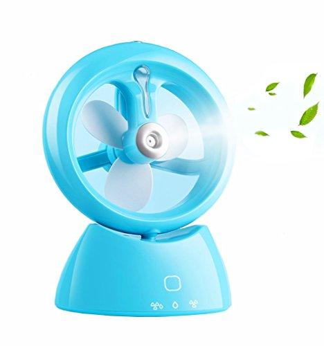 Desk Fan USB, Spray Humidifying Fan, Portable Rechargeable USB Spray Air Condictioning Moisturizing Fan (Blue)